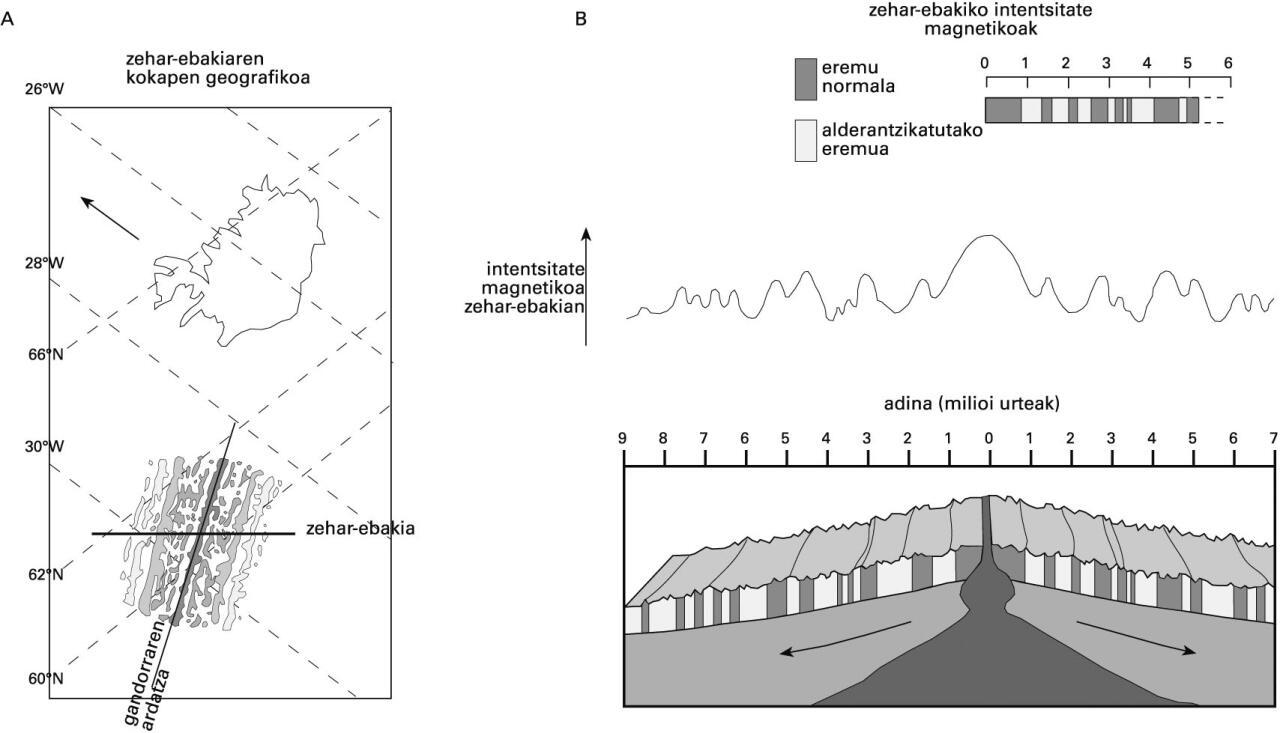 Lurrazal ozeanikoan gordetako alderantzikatze magnetikoak. A) Anomalia magnetikoen kokapen geografikoa Islandiatik gertu, Reykjanes gandorrean (Atlantiko erdiko gandorraren zatia). Xingola tramadunak anomalia magnetiko normaleko arrokak dira eta zuriz alderantzikatutako anomalia magnetikoko arrokak. B) Zehar-ebakian zeharreko eremu-magnetikoaren intentsitate-aldaketak. Intentsitate altuko eta baxuko eremuak polaritate normalekoei eta alderantzikatuei dagozkie, hurrenez hurren