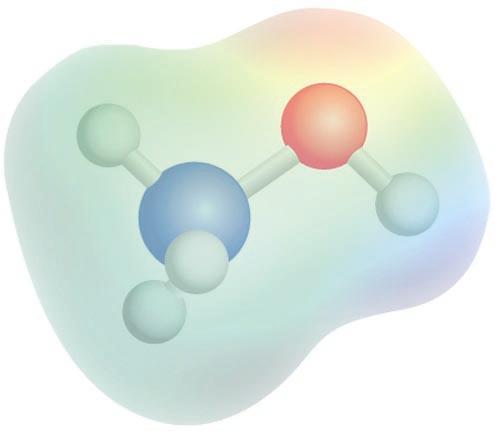 Metanolaren potentzial elektrostatikoaren mapa: kolore gorriak karga-dentsitate negatiboa adierazten du, eta kolore urdinak, karga-dentsitate positiboa