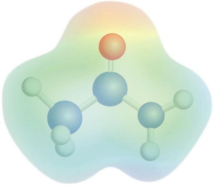 Azetamidaren potentzial elektrostatikoaren mapa: kolore gorriak karga-dentsitate negatiboa adierazten du, eta kolore urdinak, karga-dentsitate positiboa