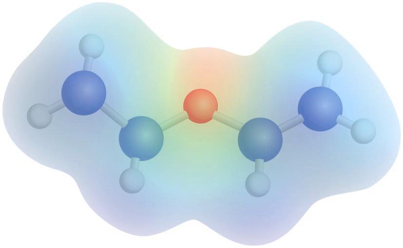 Dietil eterraren potentzial elektrostatikoaren mapa: kolore gorriak dentsitate-karga negatiboa adierazten du, eta kolore urdinak, dentsitate-karga positiboa