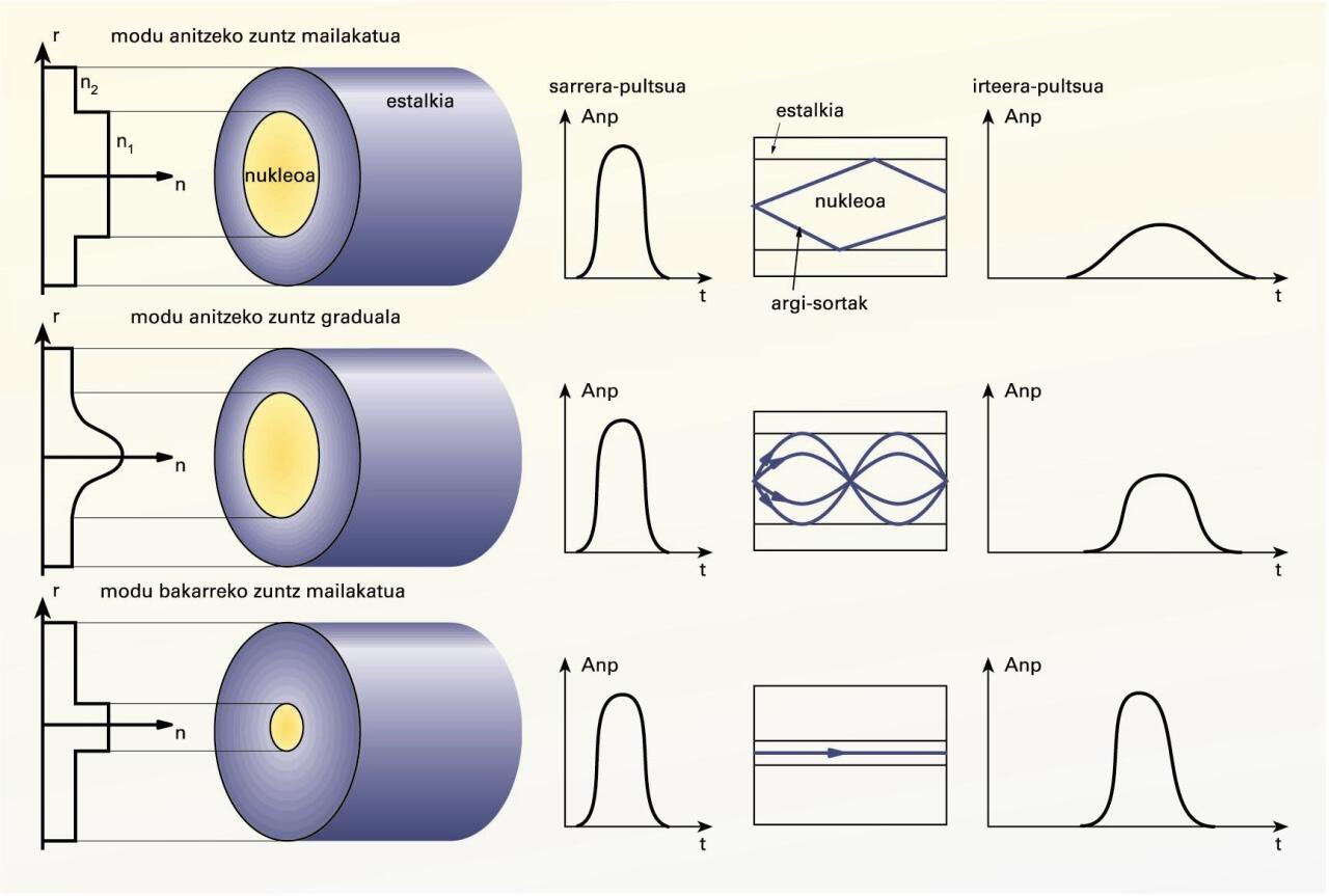 Zuntz optikoen ezaugarriak, nukleoaren arabera: goian, modu anitzeko zuntz optikoa, saltoko profileko errefrakzio-indizeduna; erdian, modu anitzeko zuntz optikoa, profil parabolikoko errefrakzio-indizeduna; behean, modu bakarreko zuntz optikoa, profil homogeneoko errefrakzio-indizeduna