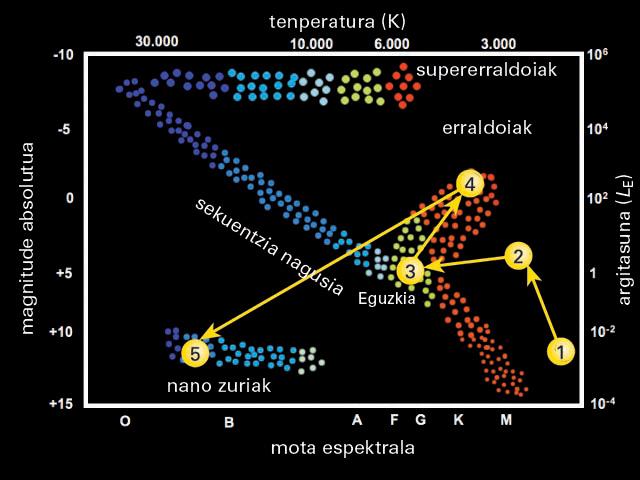 Irudiko geziek Eguzkiak bere bizitzan zehar H-R diagraman egingo duen ibilbidea erakusten digute. Gaur egun sekuentzia nagusian dago, irudiko 3 puntuan