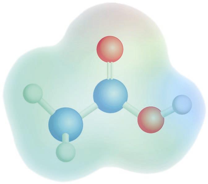 Azido azetikoaren potentzial elektrostatikoaren mapa: kolore gorriak dentsitate-karga negatiboa adierazten du, eta kolore urdinak, dentsitate-karga positiboa